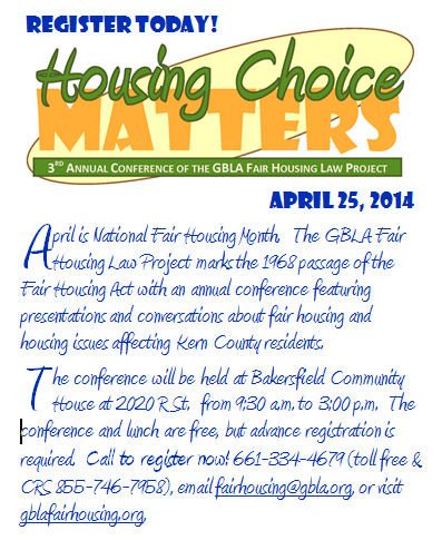 Click the image above for more information about the 3rd Annual Conference of the GBLA Fair Housing Law Project